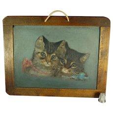 Antique 19th Century Kitten Cat Oil Painting On Slate Chalkboard Victorian Circa 1890