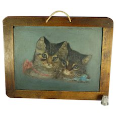 Antique 19th Century Kitten Cat Oil Painting On Slate Chalkboard Victorian Circa 1890