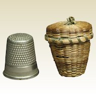 19th Century Miniature Thimble Holder Straw Basket Folk Art Circa 1900