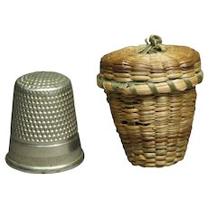 19th Century Miniature Thimble Holder Straw Basket Folk Art Circa 1900