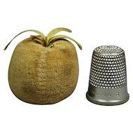 Antique Apple Fruit Pincushion Emery VELVET Circa 1860 Primitive Folk Art