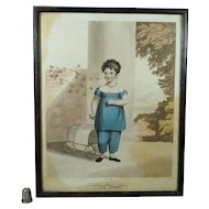 Georgian Engraving Child in Blue And Pull Toy Fly Wagon by James Godby Circa 1810