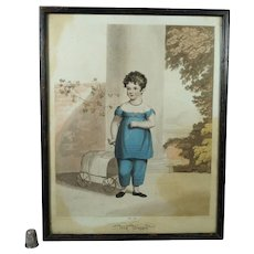 Antique Engraving, Child in Blue Dress, Pull Toy Fly Wagon by James Godby Circa 1810 Georgian