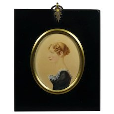 Early 19th Century Regency Portrait Miniature, Beautiful English Lady, Watercolor On Card Signed E S 1815