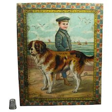 19th Century Victorian Litho Wood Block Puzzle Newfoundland Dog Cat Kitten Horse Circa 1890