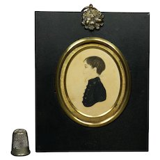 19th Century Regency Portrait Miniature Boy Gorgeous Gilt Bezel Frame Circa 1810