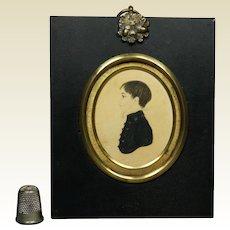 19th Century Regency Portrait Miniature Boy Gorgeous Gilt Bezel Frame Circa 1810