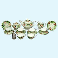 Vintage Miniature Dolls Complete Tea Set 9 Piece Hand Painted Porcelain English Circa 1950
