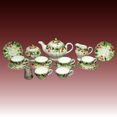 Vintage Miniature Dolls Complete Tea Set 9 Piece Hand Painted Porcelain English Circa 1950