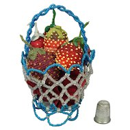 19th Century Collection of Strawberry Emery Pin Cushion X 6 in Beadwork Basket Circa 1890