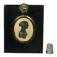 19th Century Bronzed Portrait Silhouette Of A Young Lady Regency Circa 1805 English Jane Austen Era