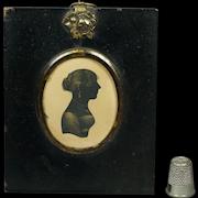 19th Century Bronzed Portrait Silhouette Of A Young Lady Regency Circa 1805 English Jane Austen Era