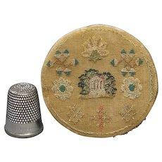 Antique Georgian Miniature Watch Sampler Pinwheel Circa 1810 English