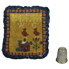 Antique Georgian Sable Beadwork Pincushion Double Sided Micro Beaded House and Birds Circa 1830