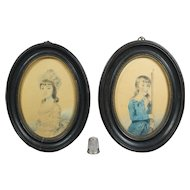 18th Century Portrait Miniature Pair Brother Sister Rifle Gun Watercolor On Paper Dated 1789