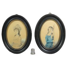 Antique 18th Century Portrait Miniature Pair Brother Sister Rifle Gun Watercolor On Paper Dated 1789
