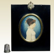 19th Century Regency Portrait Miniature On Card Lady Rare Costume Parisien Hairstyle Cap Circa 1805