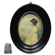 Stunning Georgian Portrait Miniature Watercolor Child And Hoop Circa 1810 Jane Austen Era