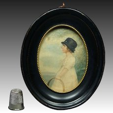 Stunning Georgian Portrait Miniature Watercolor Child And Hoop Circa 1810 Jane Austen Era