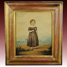 Antique 19th Century Watercolor Painting Portrait Girl And Rose Georgian Folk Art Circa 1830