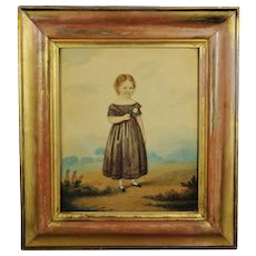 Antique 19th Century Watercolor Painting Portrait Girl And Rose Georgian Folk Art Circa 1830