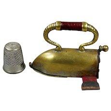 19th Century Combination Childs Tape Measure and Thimble Holder Flat Iron Sad Iron
