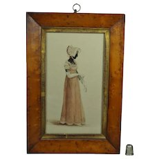 19th Century Regency Painted Silhouette Full Length Colored Portrait English Lady Watercolor Circa 1818