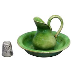 Antique Miniature Dolls Wash Bowl And Jug French Pottery Wash Set Circa 1900