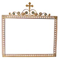 19th Century French Gilded Metal  Frame Large Religious Paste Jewelled Circa 1880 Victorian