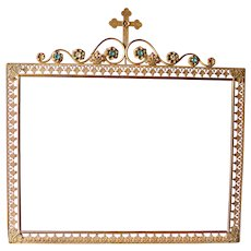 Antique BEAUTIFUL 19th Century French Large Religious Frame Paste Jewelled Gilded Brass Circa 1880 Victorian