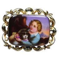 Antique 19th Century Hand Painted Dog Porcelain Brooch Victorian Circa 1860