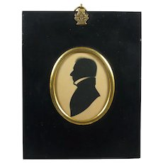 English Regency Silhouette Gentleman Edward Foster Frame Circa 1817