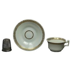 19th Century English Porcelain Miniature Porcelain Doll Tea Cup And Saucer Circa 1825