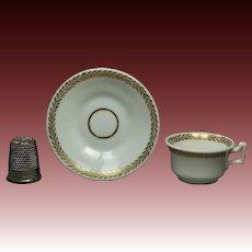 Georgian Miniature Doll Tea Cup And Saucer English Porcelain Circa 1825