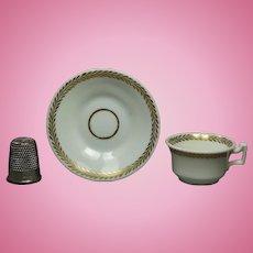 Antique Georgian Miniature Doll Tea Cup And Saucer English Porcelain Circa 1825