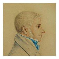 Antique Regency Portrait Miniature On Card, Handsome Man, Circa 1820 AF