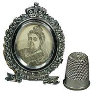 Antique Sterling Silver Miniature Doll Size Photo Frame Queen Victoria Commemorative Fully Hallmarked 1901