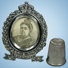Antique Miniature Doll Size Photo Frame English Sterling Silver Queen Victoria Commemorative Fully Hallmarked 1901