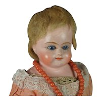 German 19th Century Papier Mache Doll Glass Eyes Circa 1880