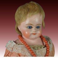 German 19th Century Papier Mache Doll Glass Eyes Circa 1880