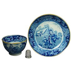 19th Century Regency Blue and White Transferware Pearlware Tea Bowl And Saucer Mother and Children Playing Circa 1810