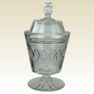 Antique Regency Anglo Irish Cut Glass Preserve Jar Circa 1820