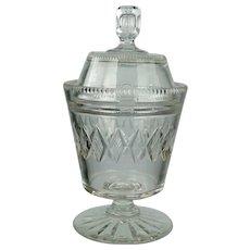 Georgian Anglo Irish Cut Glass Covered Urn, Preserve Jar, Circa 1820
