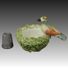 19th Century Miniature Staffordshire Pottery Bird In Nest Eggs Circa 1845 AF