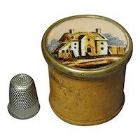 19th Century Miniature French Eglomise Boxwood Box Circa 1820 Georgian Treen