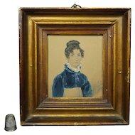 James Warren Childe, Portrait Miniature, Regency Lady, Blue Spencer Jacket, Signed Dated 1819