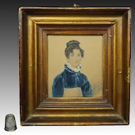 James Warren Childe, Portrait Miniature, Regency Lady, Blue Spencer Jacket, Signed Dated 1819