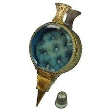 19th Century French Pocket Watch Holder Blue Gilt Glass Jewelry Case Rare Bellows Design Circa 1850