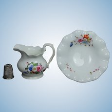 19th Century Doll Childs Miniature Porcelain Wash Set Bowl And Pitcher Doll Size Floral Circa 1830 English