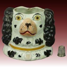19th Century Staffordshire Pottery Spaniel Vase Jar Circa 1865 AF